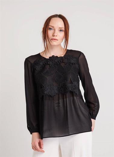Xtsy Dantelli Uzun Kollu Bluz Siyah